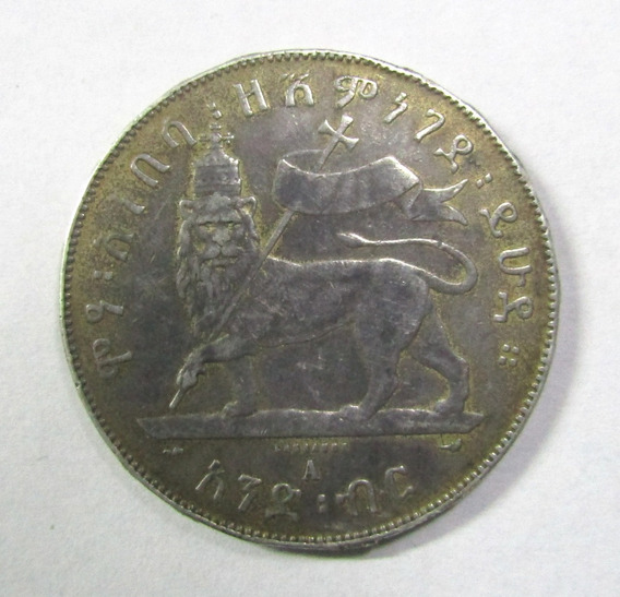 Etiopia 1 Birr Plata 1889 Menelik Ii Leon Km # 5 (soldadura)