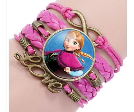 Pulseira Menina Infantil Princesa Ana Frozen Couro Trançado