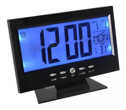 Relógio Digital Mesa Sensor Som Alarme Termômetro Calendário