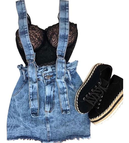 Jardineira Salopete Vestido Saia Suspensório Feminino Modelo Novo 100% Jeans