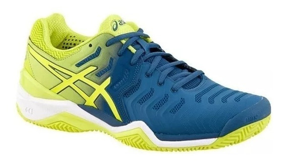 Tênis Asics Gel Resolution 7 Clay Azul/amarelo Original +nf