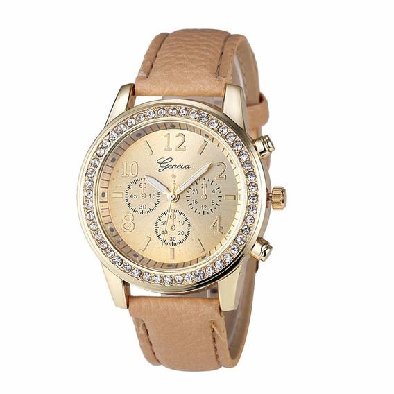 Relógio Dourado Feminino Pulseira Bege Rg005f Promoção!!!