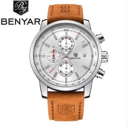 Relógio Benyar Branco Masculino Cronógrafo Funcional