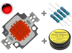 Super Power Led 10w Vermelho 620-630 Nm + Resistor + Pasta
