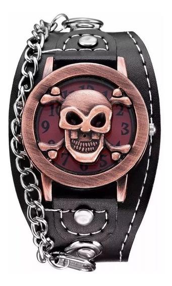 Relógio Bracelete Rock Caveira Bronze Prata Couro Sintético