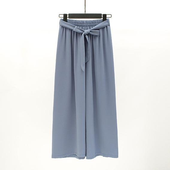 Mulheres Drapeado Grande Perna Calças Respirável Alto Subi