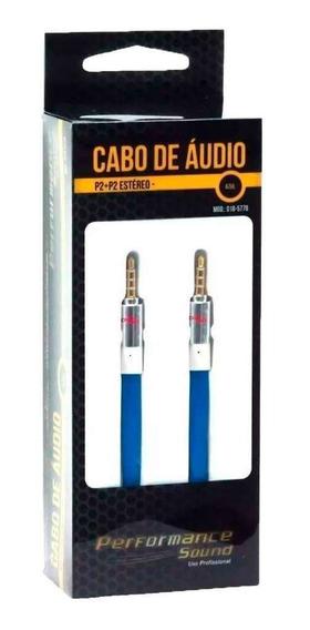 Cabo De Áudio P2 Para P2 Estéreo Chip Sce Azul 2 Metros