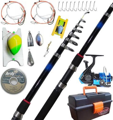 Combo Pesca Completo Caña Reel Caja De Pesca Lineas Plomadas