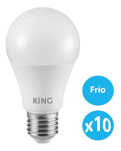 Imagen 1 de 6 de Pack 10 King Lampara Led Bulbo A60 - Blanco Frío 12w E27