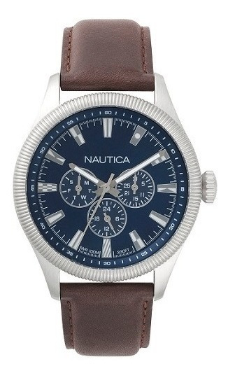 Relógio Nautica Masculino Couro Marrom - Napstb001
