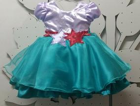 Vestido Pequena Sereia Ariel Festa Luxo E Tiara