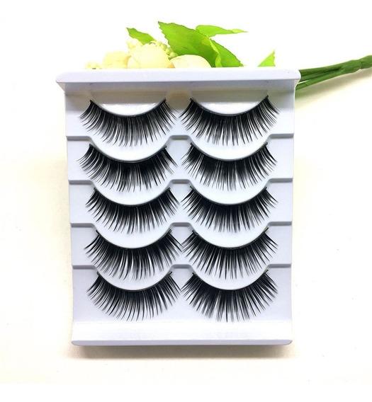 Kit 5 Pares Cílios Postiços Naturais Maquiagem Mulheres 002