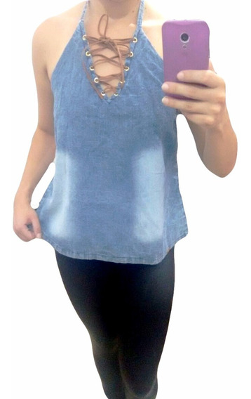 Top Cropped/blusinha Jeans Sion Tv314