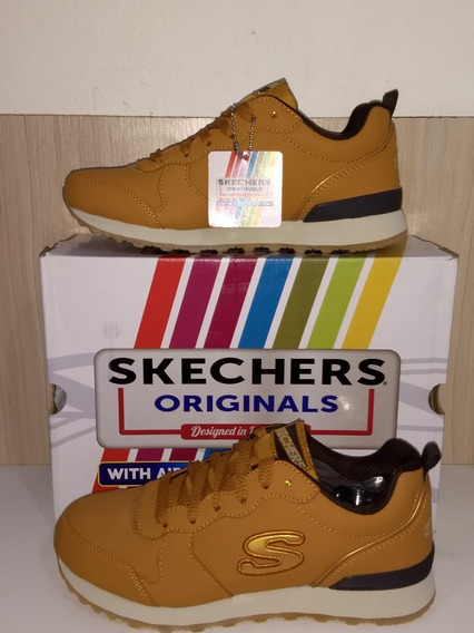 Tênis Couro Skechers Og 85 - Street Sneak Feminino - Bege