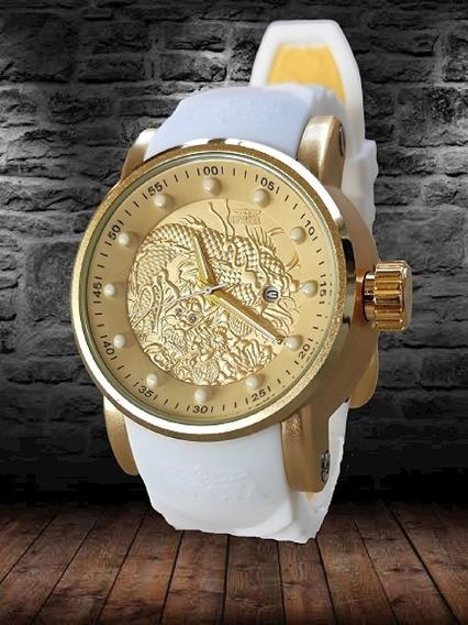 Relógio Caixa Dourada Importado Dragão Pulseira De Silicone!