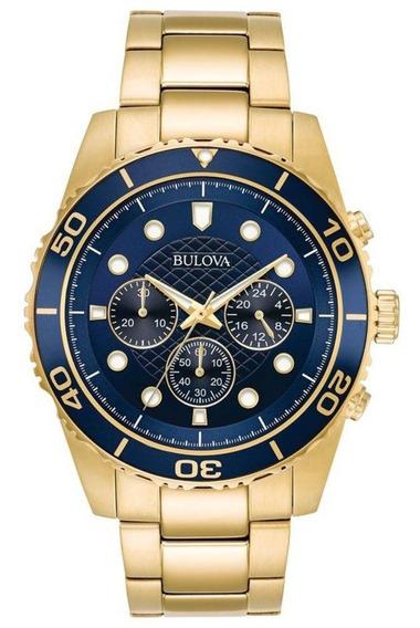 Relógio Bulova Cronograph Dourado Com Azul Wb31989z
