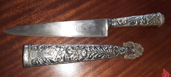 Cuchillo Artesanal Puñal Argentino Funda De Metal Labrado