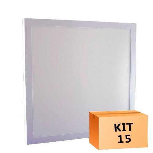 Kit 15 Plafon Led Sobrepor 36w - 40 X 40 Cm Frio Moderno