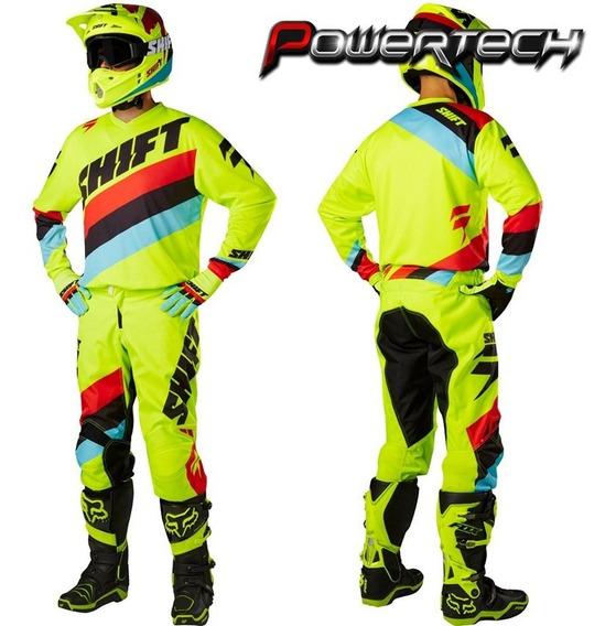 Conjunto Equipo Motocross Shift Amarillo Y Guantes - Cuotas