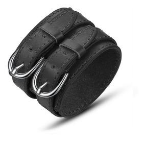 Pulseira Bracelete De Couro 2 Fivelas - Masculina E Feminina