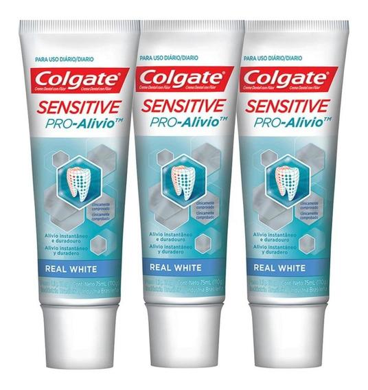 Kit 3 Cremes Dentais Colgate Sens Pro-alívio Real White 110g