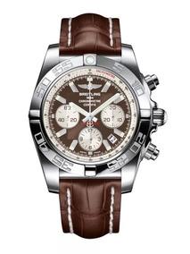 Breitling Chronomat 44 Dial Relógio Marrom Pulseira Couro