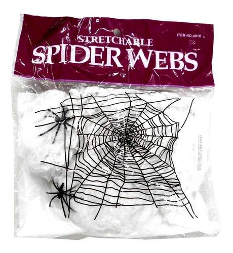 Imagem 1 de 2 de Teia De Aranha Halloween Com 2 Aranhas