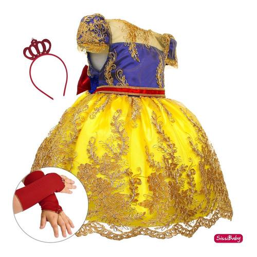 Imagem 1 de 8 de Vestido Princesa Branca De Neve Infantil Coroa E Luvas