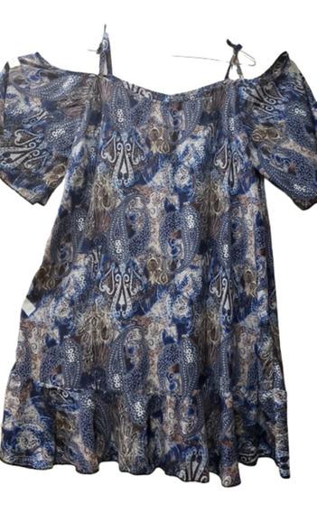 Vestido De Seda, Cuello Redondo, Con Mangas Cortas, T.5 Al14