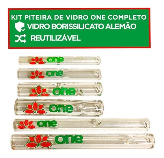 Kit 6 Piteira De Vidro Borossilicato One Diversos Tamanhos