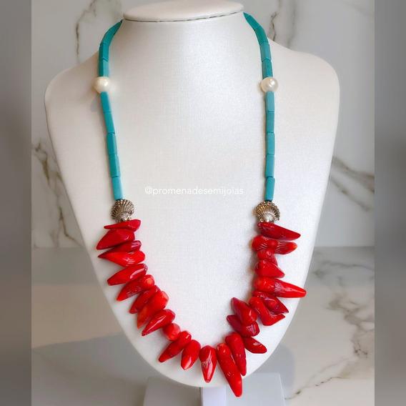 Colar Pedras Naturais - Coral Vermelho, Turquesa E Pérolas