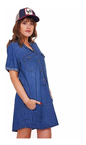 Customs Ba Vestido Jean Verano Mujer Azul Camisola Camisaco