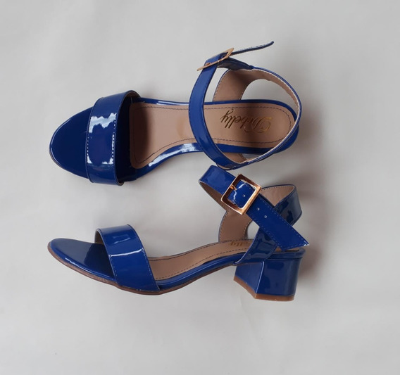 Sandália Aberta Salto Baixo Grosso Bloco 3,5 Cm Verniz Azul