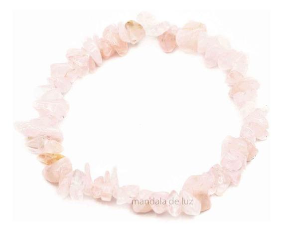 Pulseira Cascalho Pedra Cristal Natural Quartzo Rosa Amor