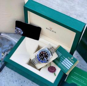 Relógio Com Caixa Rolex Batman Preto E Azul Gmt Master 2