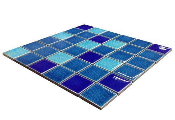 Mosaico Piscina Cracked Smalto Forest Blue Brezza