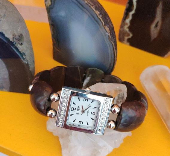Relógio Quartz Bracelete De Pedra Jaspe