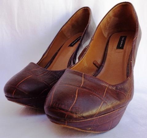 Zapatos Marrón Zara Woman Con Taco Y Plataforma T. 40 Mujer
