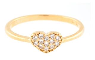 Anel Folheado Ouro Coração Pedras Rommanel Original Com Garantia