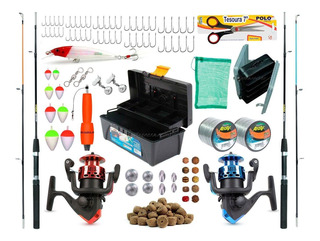 Kit De Pesca Barato 2 Varas 2 Molinetes + Caixa E Acessórios
