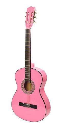 Guitarra De Madera Rosada Con Estuche Master Play