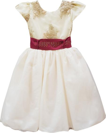 Vestido Longo Casamento Daminha Creme Com Marsala Oferta