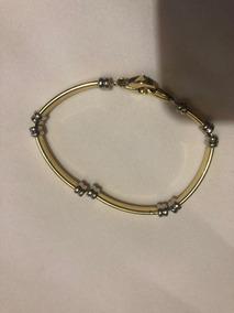 Bracelete De Ouro Branco Com Ouro Dourado (misto)