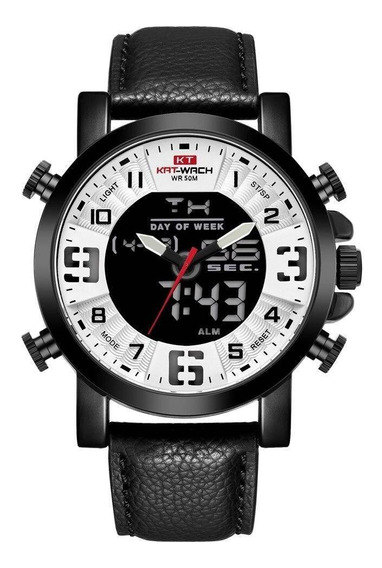 Relógio Kat-wach Masculino Anadigi Kt1845 Preto E Branco