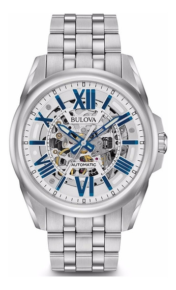Relógio Bulova Masculino Automático 96a187 Esqueleto Prata