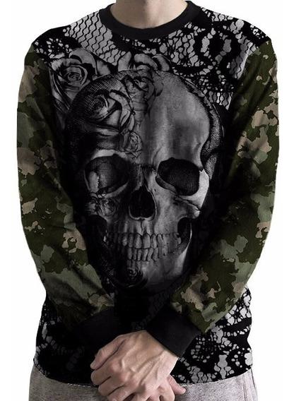 Blusa De Frio Moletom Camuflado Caveira Skull Trust