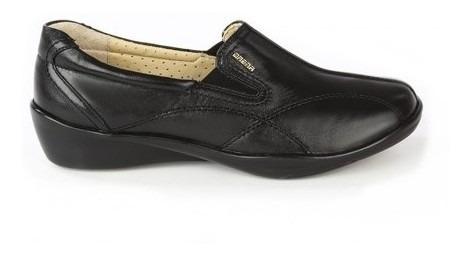 Zapato Mocasin Onena Mujer Piel Negro-rojo 1109