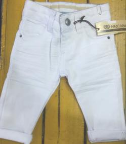 Calça Jeans Infantil Bebê Menino Branca 1 Mês A 16 Anos