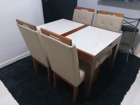 Mesa De Jantar Extensiva Gênova Vidro Imbuia Com 4 Cadeiras