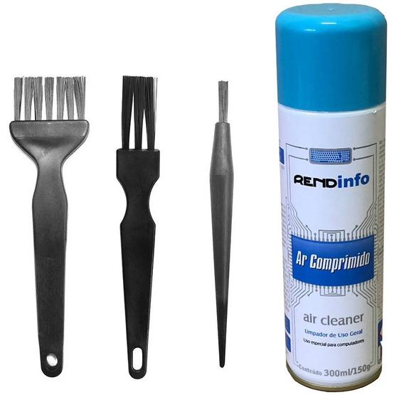 Kit 3 Pincel Antiestático P/ Limpeza De Pc + Ar Comprimido
